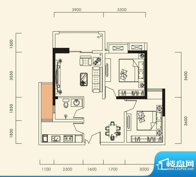 海怡江山户型图一期1号楼标准层面积:76.82平米