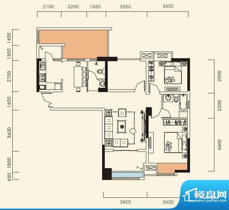 海怡江山户型图一期1号楼标准层面积:105.98平米