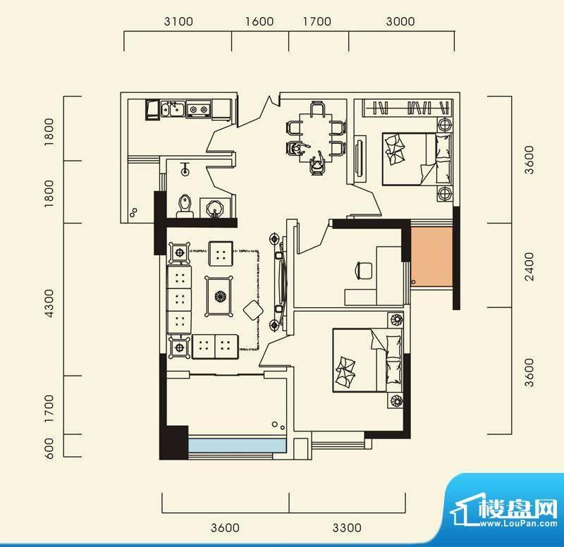 海怡江山户型图一期1号楼标准层面积:87.28平米