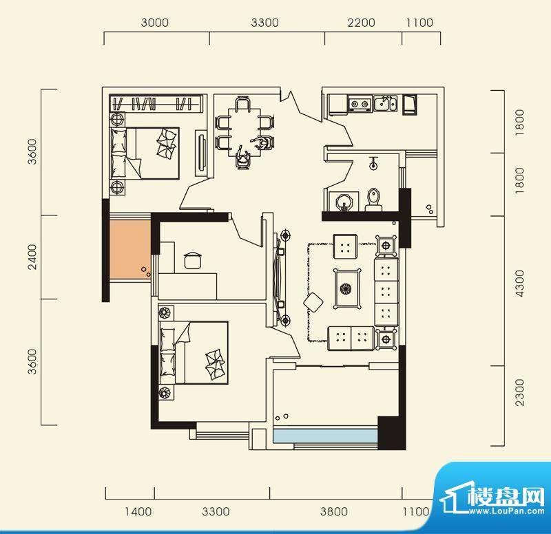 海怡江山户型图一期1号楼标准层面积:89.46平米