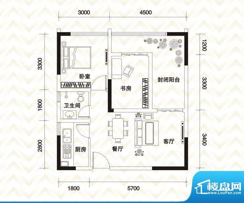 香江庭院户型图二期2号楼标准层面积:73.08平米