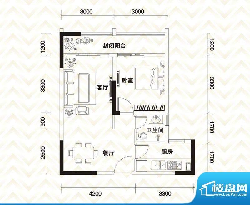 香江庭院户型图二期2号楼标准层面积:61.63平米