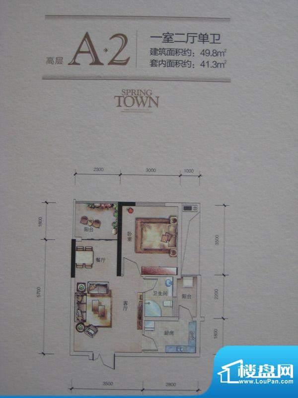 三兴美泉雅郡户型图一期高层13面积:49.80平米