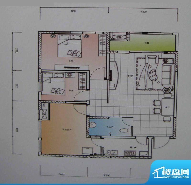御锦江都户型图一期A3栋标准层面积:108.55平米