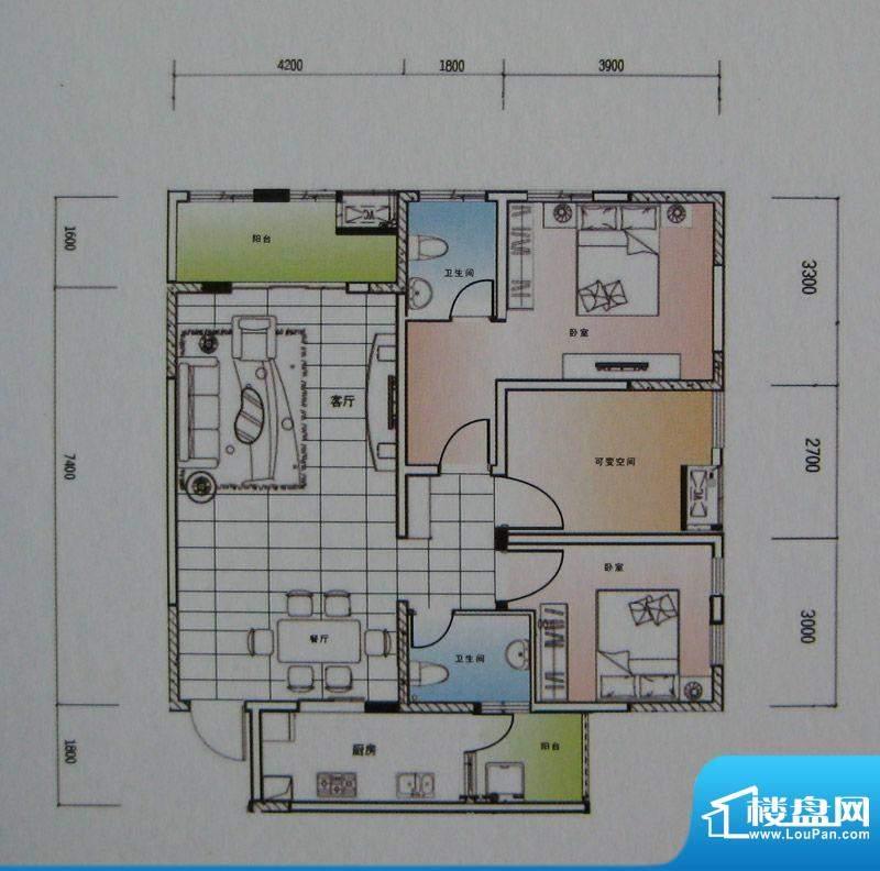 御锦江都户型图一期A3栋标准层面积:121.42平米