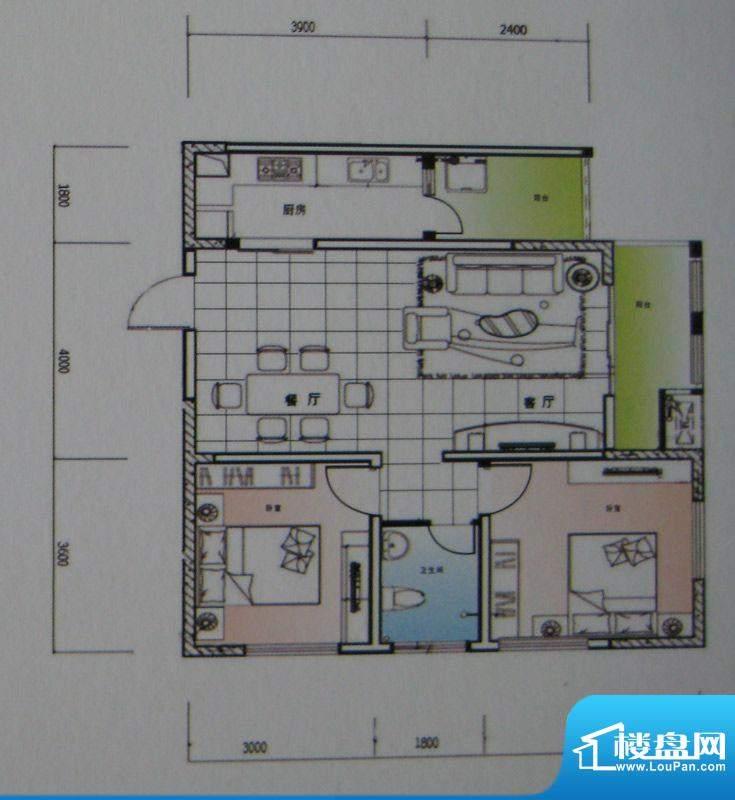 御锦江都户型图一期A3栋标准层面积:90.67平米