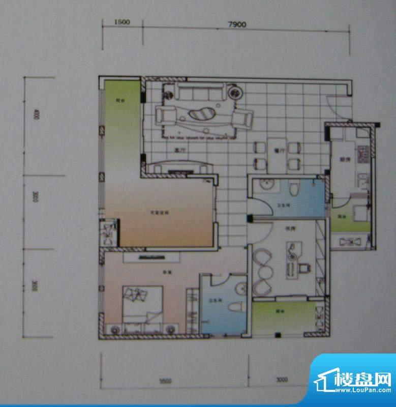 御锦江都户型图一期A3栋标准层面积:124.65平米