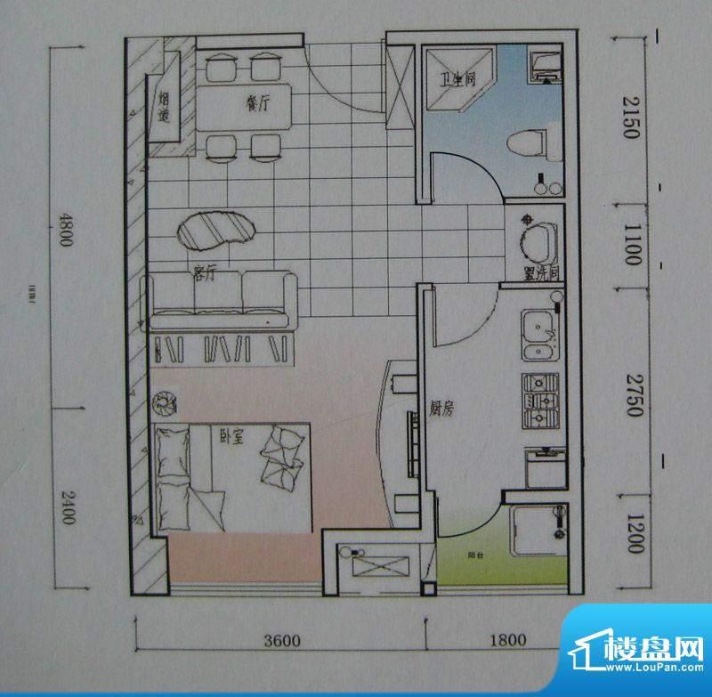 御锦江都户型图一期A1栋标准层面积:44.38平米