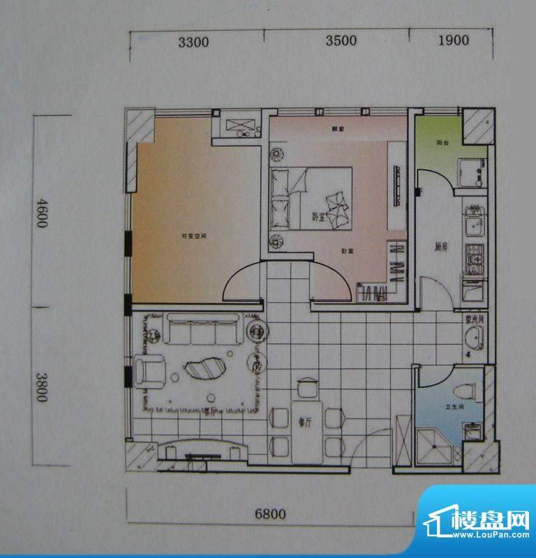 御锦江都户型图一期A1栋标准层面积:87.56平米