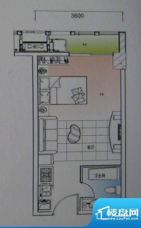 御锦江都户型图一期A1栋标准层面积:42.15平米