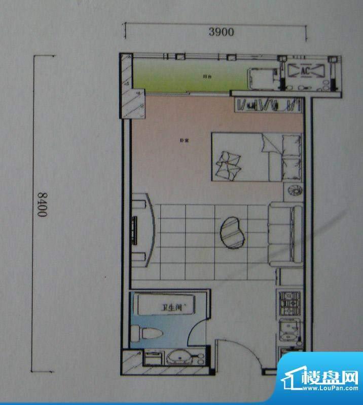 御锦江都户型图一期A1栋标准层面积:45.72平米