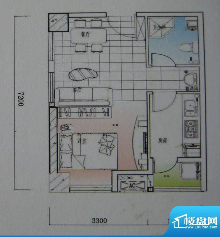 御锦江都户型图一期A1栋标准层面积:43.17平米