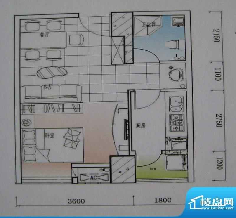 御锦江都户型图一期A1栋标准层面积:45.62平米