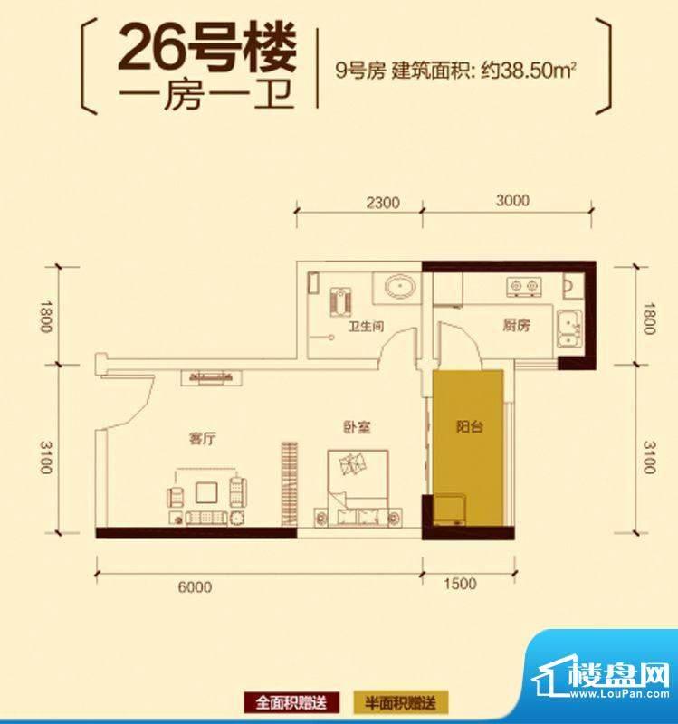 中慧第一城户型图一期26号楼标面积:38.50平米