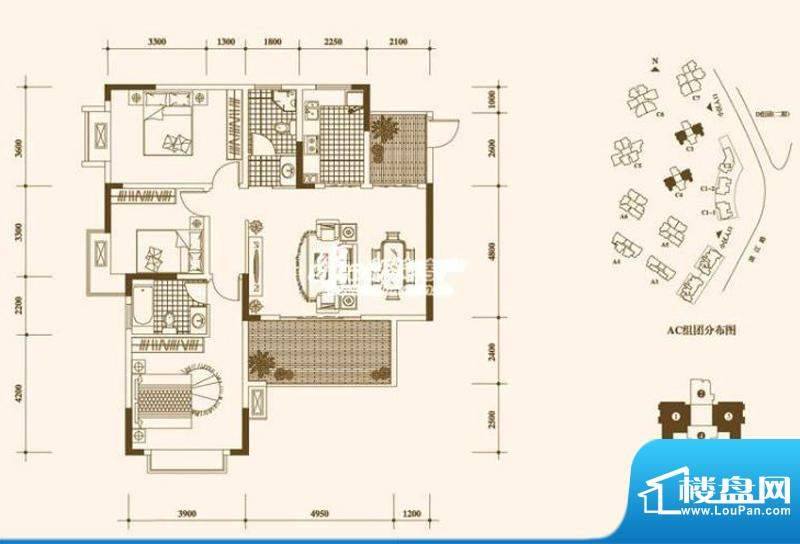 一期C3、C4栋标准层1、3号房户型