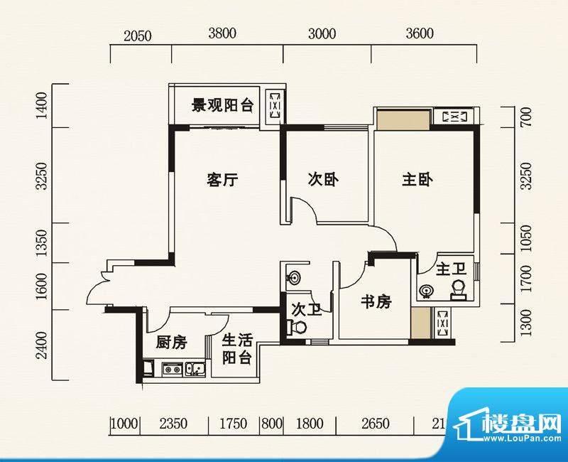 海怡天西城华府户型图五期4、5面积:100.29平米
