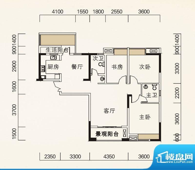 海怡天西城华府户型图五期4、5面积:115.42平米