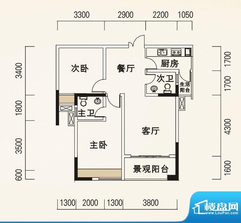 海怡天西城华府户型图五期4、5面积:82.57平米