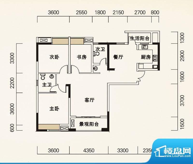 海怡天西城华府户型图五期4、5面积:115.24平米