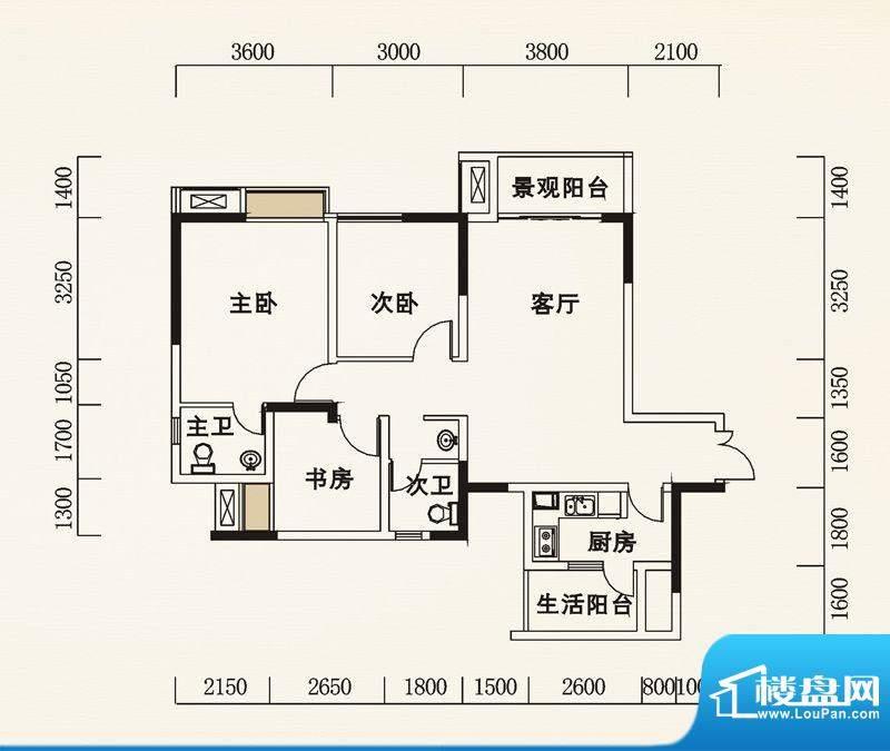 海怡天西城华府户型图五期4、5面积:100.32平米