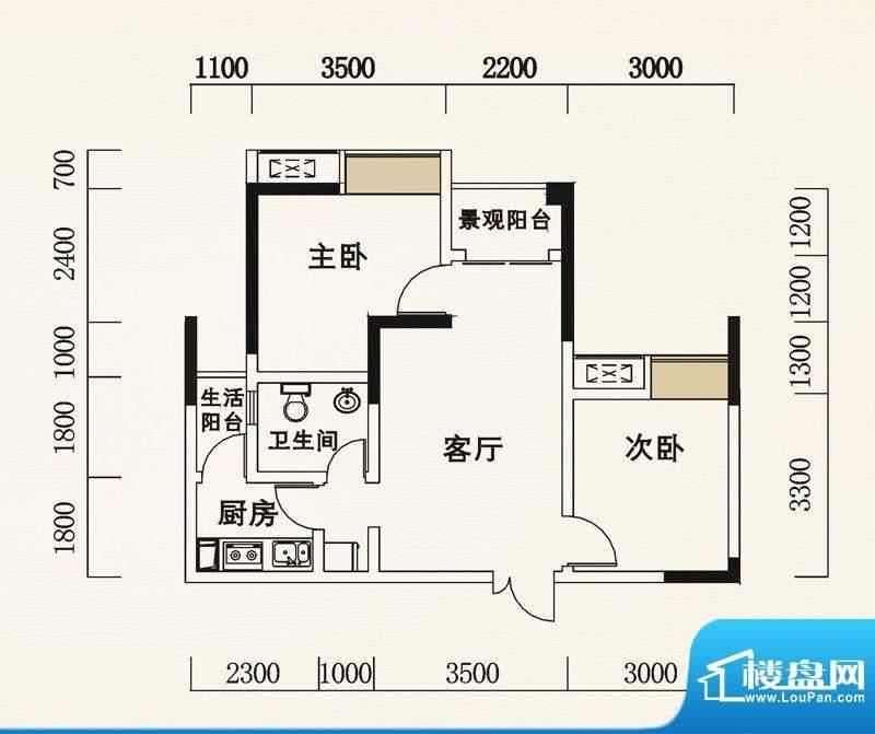 海怡天西城华府户型图五期4、5面积:62.38平米