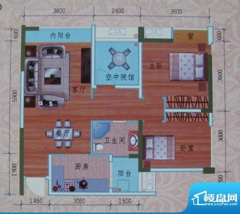 泽胜依山郦景户型图一期2号楼标面积:77.79平米