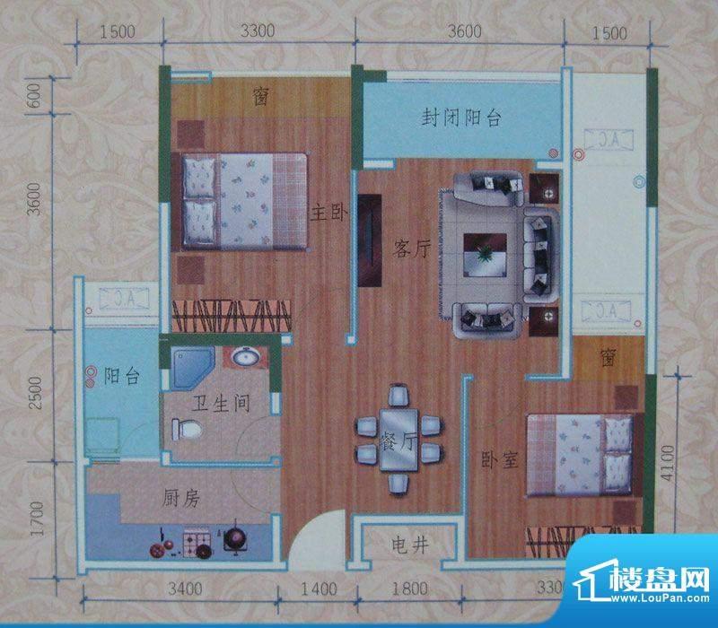 泽胜依山郦景户型图一期2号楼标面积:75.50平米