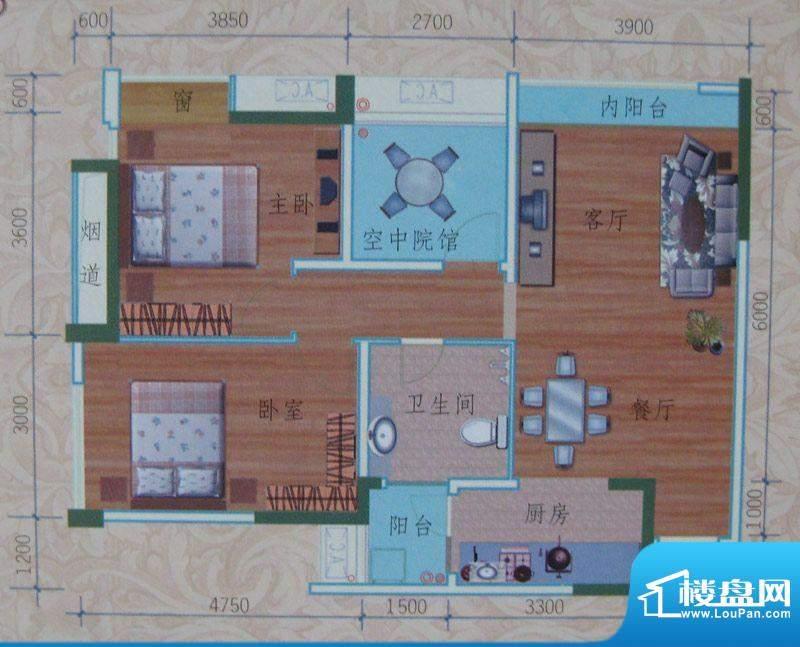 泽胜依山郦景户型图一期1号楼标面积:86.77平米