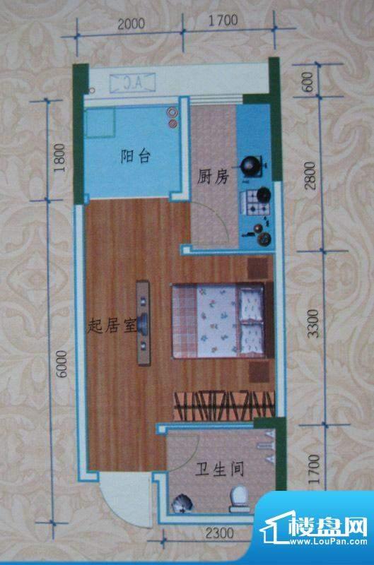 泽胜依山郦景户型图一期1号楼标面积:31.66平米