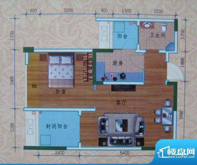 泽胜依山郦景户型图一期1号楼标面积:54.70平米