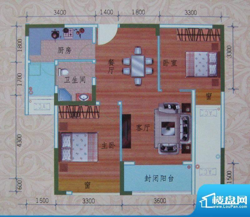 泽胜依山郦景户型图一期1号楼标面积:76.57平米