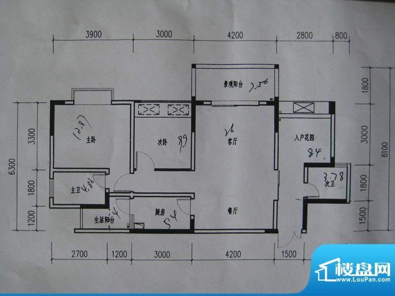龙湾南湖MOCO户型图三期3、4号面积:91.02平米