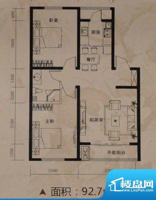 托斯卡纳92.7平方米面积:92.70m平米