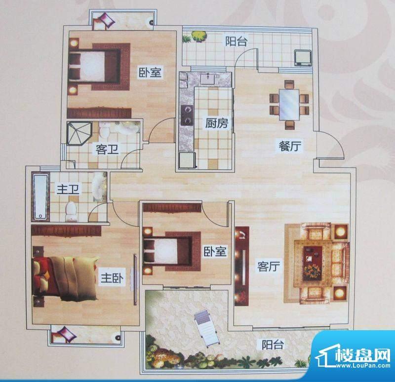 版纳一品D户型 3室2面积:117.21m平米
