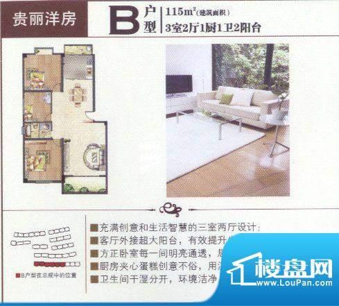 合顺景苑B户型3室面积:115.00m平米