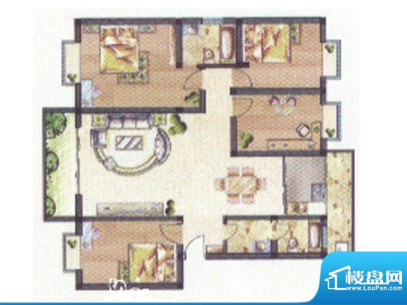 合顺景苑C1户型 4室面积:136.00m平米