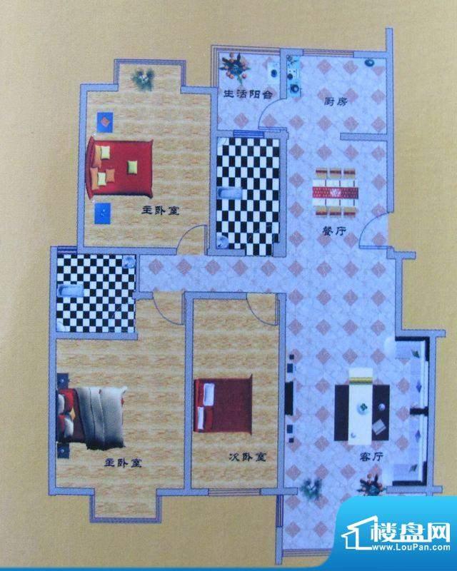 碧水花园B户型 3室2面积:144.00m平米