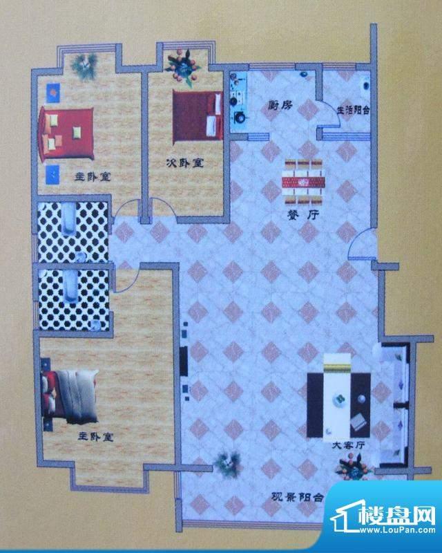 碧水花园A户型 3室2面积:173.00m平米