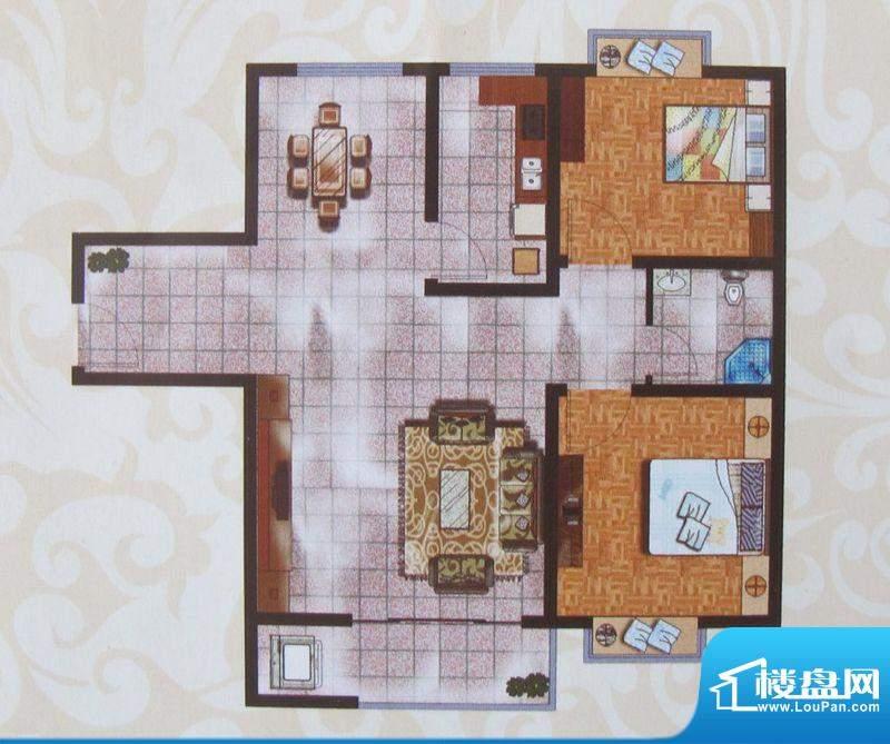 金象盛景E户型 2室2面积:74.85m平米