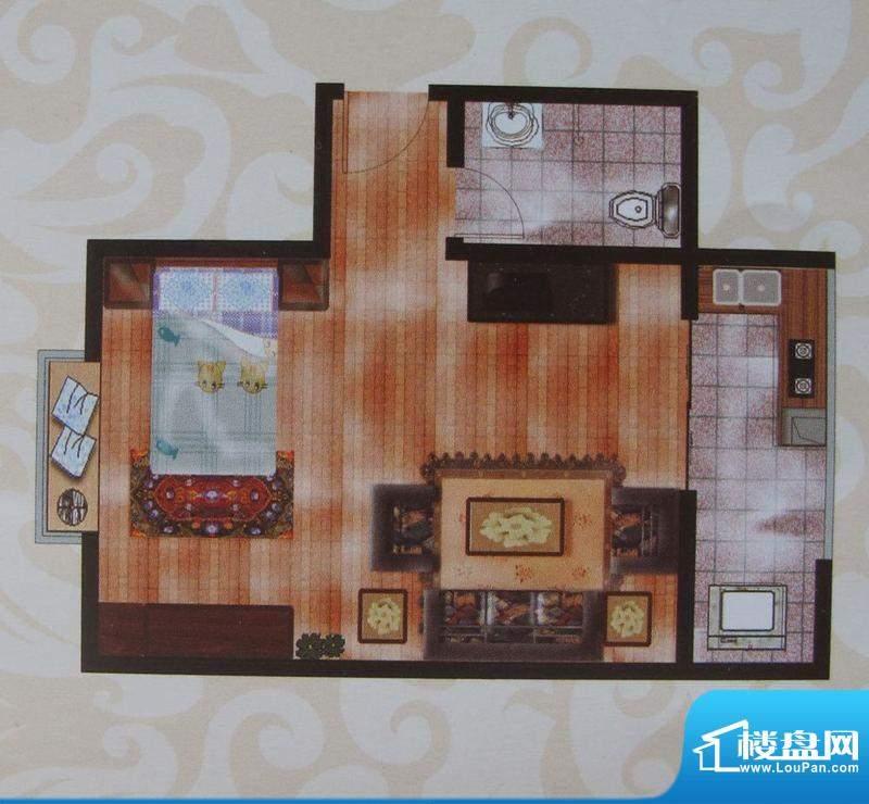金象盛景F户型 1室1面积:45.16m平米