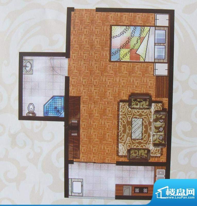 金象盛景G户型 1室1面积:41.93m平米