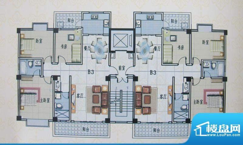 金色佳园B3户型 3室面积:126.78m平米