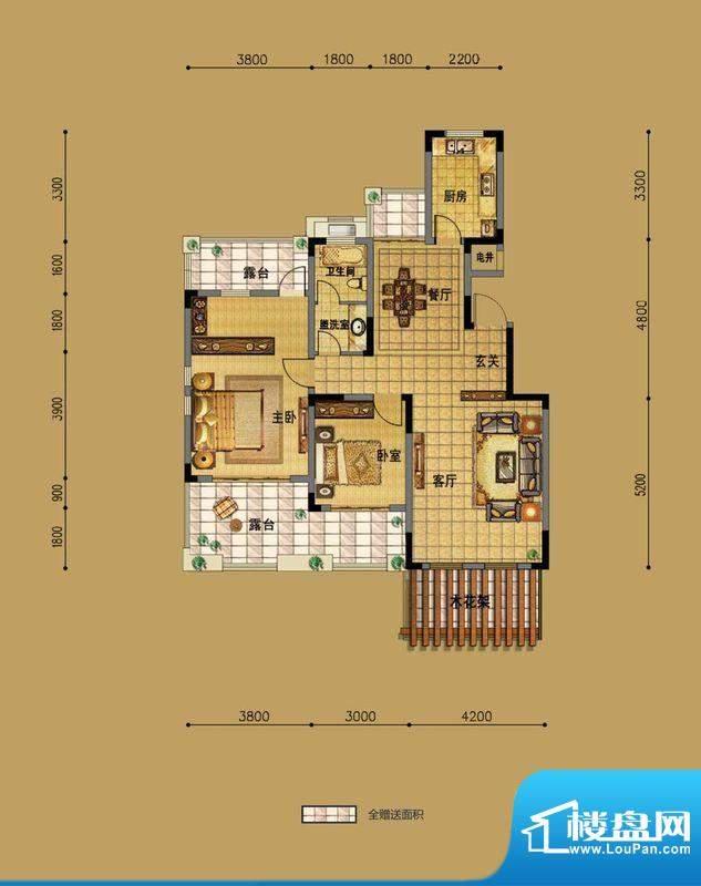 三一·翡翠湾E1洋房面积:103.00m平米