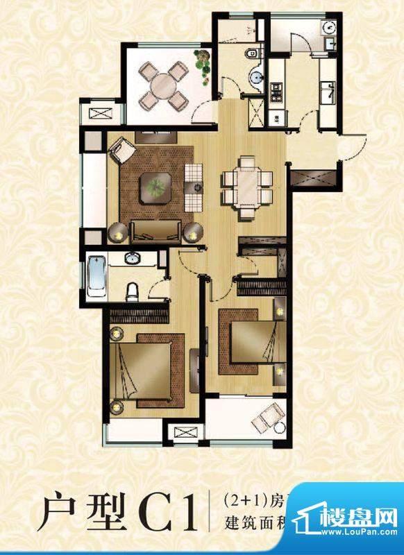 九龙仓繁华里户型图C1户型 3室面积:123.00平米