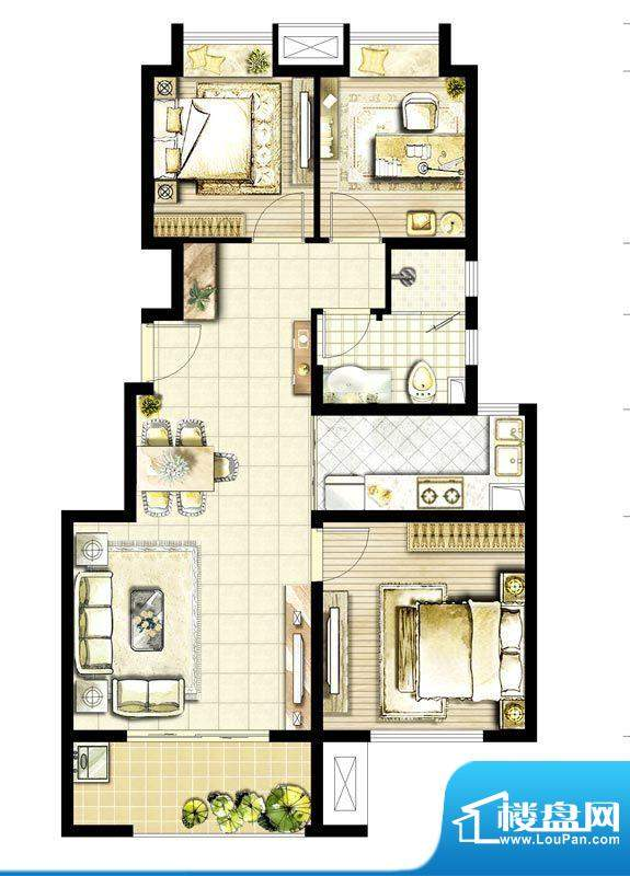 华润国际社区户型图A地块C户型面积:90.00平米