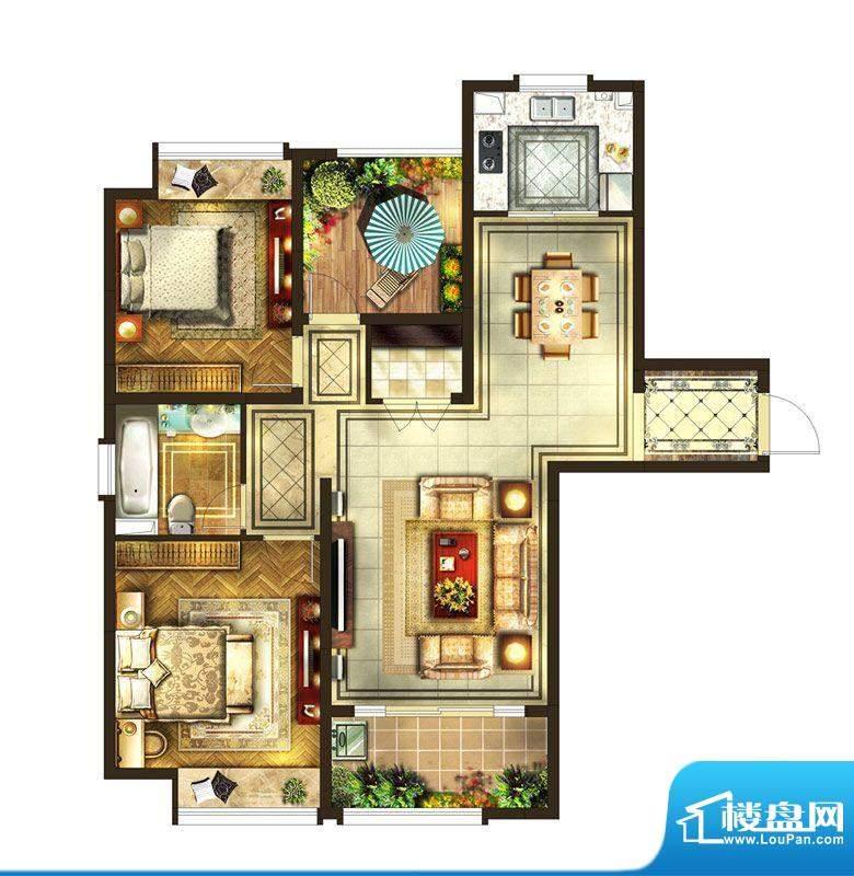 华润国际社区户型图6#楼A户型 面积:118.00平米