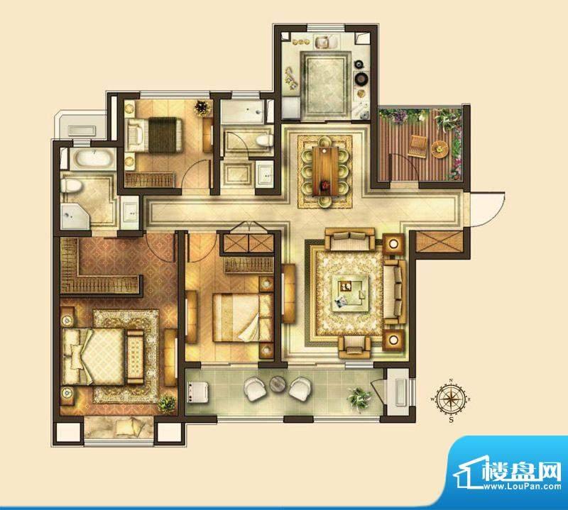华润国际社区户型图C户型 3室2面积:143.00平米