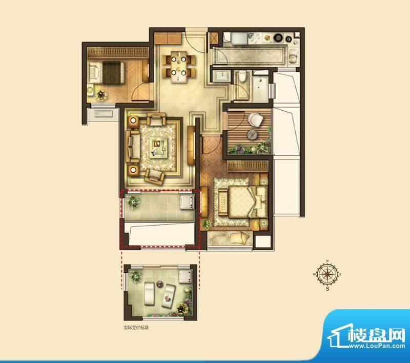 华润国际社区户型图B户型 2室2面积:85.00平米