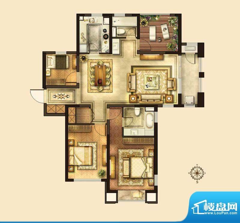 华润国际社区户型图D户型 3室2面积:146.00平米