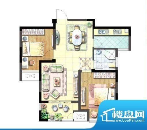 聚湖雅苑户型图17#B户型 2室2厅面积:87.05平米